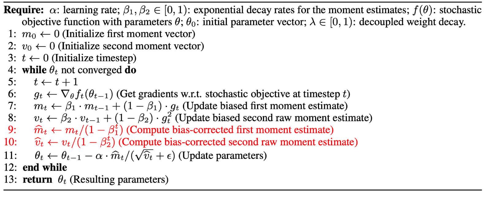 ASAPP—BERTAdam omits lines 9 and 10 which are used to correct the biases in the first and second moment estimates.