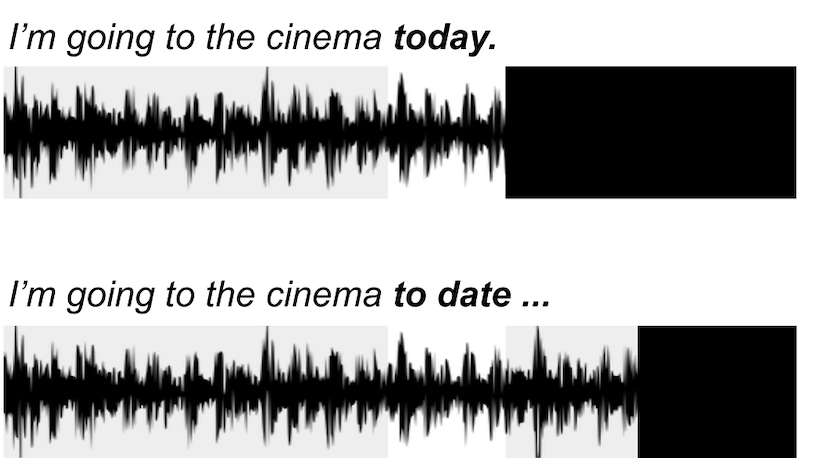"""ASAPP - ASAPP - Rather than having an ASR model predict what a speaker is saying only based on what's said before, by also using what'll be said as future context, is a model able to better predict and detect the difference between someone who said: """"I'm going to the cinema today [to watch the new James Bond]"""" versus """"I'm going to the cinema to date… [James Bond]."""""""